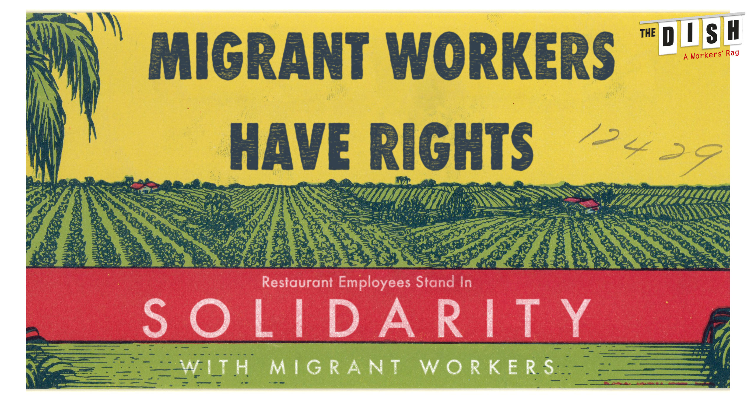 """An graphic of an illustrated farm with text that reads """"Migrant Workers Have Rights Restaurant Employees Stand in Solidarity with Migrant Workers"""""""